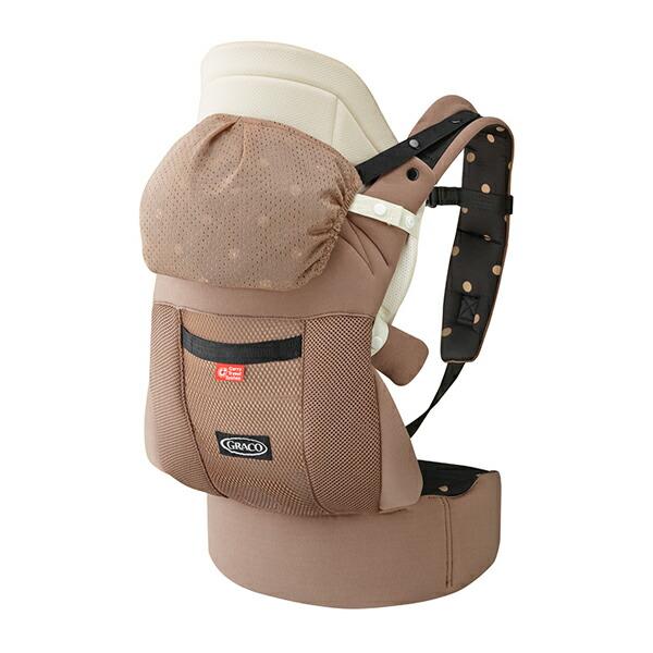 【送料無料】GRACO(グレコ) ルーポップゼロCTS  ブラウンドットBR  腰ベルト付き子守帯 おくるみインサート やわらかメッシュ搭載 抱っこひも