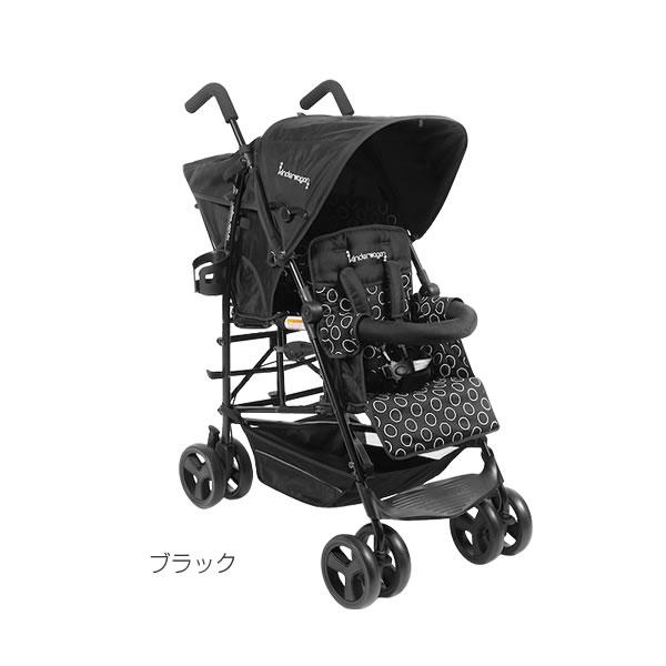 日本育児 縦型二人乗りベビーカー DUOシティHOP ブラック【ラッピング不可商品】【送料無料 沖縄・一部地域を除く】