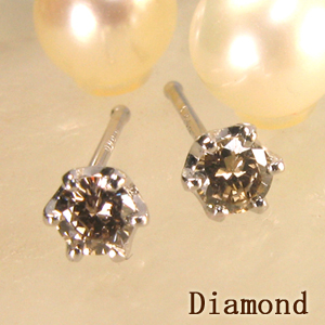 ダイヤモンドピアス シャンパンカラーK18【金種変更可能/】cool