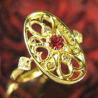 レッドスピネルリング・ダイヤモンド付き リング K18~Coeur Antiquite~ハートのデザイン【Pt900 変更可能/】