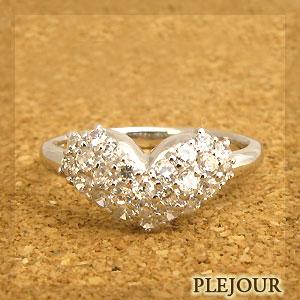 ハート:プラチナ:ダイヤモンド約0.5ct:シンプル:リング:プクプク:指輪