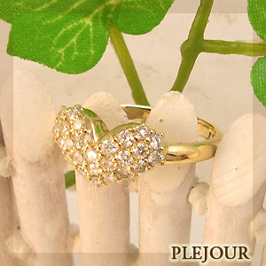 【10%OFF】ハート:K18:ダイヤモンド約0.5ct:シンプル:リング:プクプク:指輪