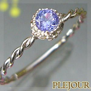 9/11 1:59迄タンザナイトリング K18 シンプル 指輪 ハッピードロップ 指輪 / プラチナ変更可能