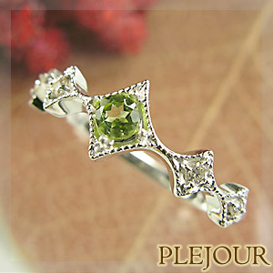 【10%OFF】ペリドット リング K18 アンティーク ダイヤモンド付 K18  ダイヤ型 エピーヌ 指輪 / プラチナ変更可能