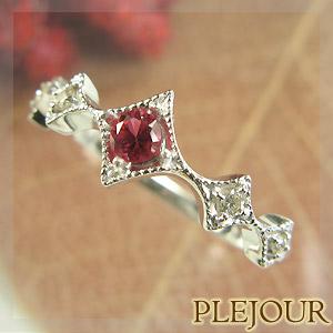 レッドスピネル リング K18 アンティーク ダイヤモンド付 K18  ダイヤ型 エピーヌ 指輪 / プラチナ変更可能