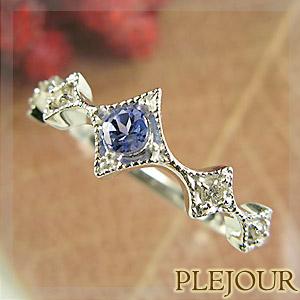 タンザナイト リング K18 アンティーク ダイヤモンド付 K18  ダイヤ型 エピーヌ 指輪 / プラチナ変更可能