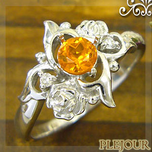 マンダリンガーネットリング K18 薔薇 ダイヤモンド付  ロマンティックローズ 指輪/ プラチナ変更可能