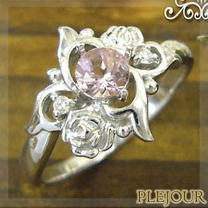 9/11 1:59迄モルガナイトリング K18 薔薇 ダイヤモンド付  ロマンティックローズ 指輪/ プラチナ変更可能