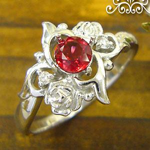 レディッシュサファイアリング K18 薔薇 ダイヤモンド付  ロマンティックローズ 指輪/ プラチナ変更可能