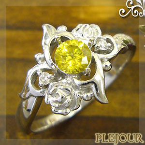 【10%OFF】スフェーンリング K18 薔薇 ダイヤモンド付  ロマンティックローズ 指輪/ プラチナ変更可能