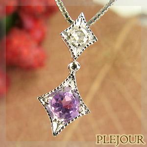 9/11 1:59迄アメジストペンダント K18 アンティーク ダイヤモンド付 ネックレス ダイヤ型 エピーヌ ペンダント