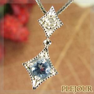 【10%OFF】アクアマリンペンダント K18 アンティーク ダイヤモンド付 ネックレス ダイヤ型 エピーヌ ペンダント