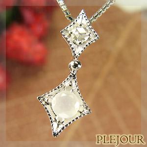 【10%OFF】ムーンストーンペンダント K18 アンティーク ダイヤモンド付 ネックレス ダイヤ型 エピーヌ ペンダント