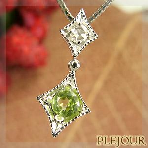 【10%OFF】ペリドットペンダント K18 アンティーク ダイヤモンド付 ネックレス ダイヤ型 エピーヌ ペンダント