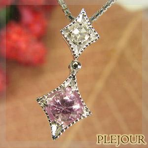 【10%OFF】ピンクサファイアペンダント K18 アンティーク ダイヤモンド付 ネックレス ダイヤ型 エピーヌ ペンダント