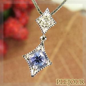 9/11 1:59迄タンザナイトペンダント K18 アンティーク ダイヤモンド付 ネックレス ダイヤ型 エピーヌ ペンダント