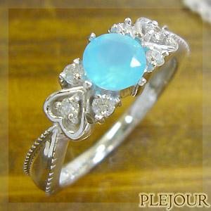 【10%OFF】ブルーカルセドニーリング アンティーク K18 ダイヤモンド付 ハート リング ハートに包まれたアンティーク 指輪/ プラチナ変更可能