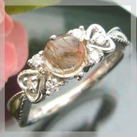 ダイヤモンド付 プラチナ変更可能 アンティーク リング 指輪/ ルチルクォーツリング ハート K18 ハートに包まれたアンティーク ピンク