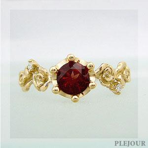 独特の上品 アンデシンリング K18 薔薇 王冠 ダイヤモンド付 バラと王冠のコンビ 指輪/ プラチナ変更可能, キングモバイル a4becfdf