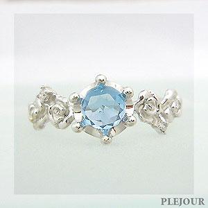 ブルートパーズリング エピコットカット K18 薔薇 王冠 ダイヤモンド付 バラと王冠のコンビ 指輪/ プラチナ変更可能