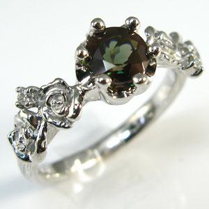 カラーチェンジアンデシンリング K18 薔薇 王冠 ダイヤモンド付 バラと王冠のコンビ 指輪/ プラチナ変更可能