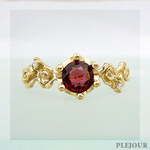 レッドスピネルリング K18 薔薇 王冠 ダイヤモンド付 バラと王冠のコンビ 指輪/ プラチナ変更可能