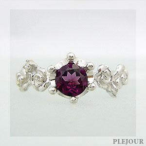 【10%OFF】ロードライトガーネットリング K18 薔薇 王冠 ダイヤモンド付 バラと王冠のコンビ 指輪/ プラチナ変更可能