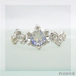 【10%OFF】ロイヤルブルームーンストーンリング K18 薔薇 王冠 ダイヤモンド付 バラと王冠のコンビ 指輪/ プラチナ変更可能