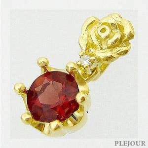 【10%OFF】アンデシン ペンダント K18 薔薇 王冠 ダイヤモンド付 ネックレス バラとクラウンのコンビ ペンダント/ プラチナ変更可能