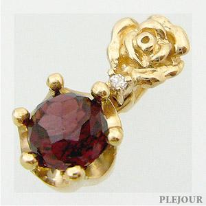 ガーネット ペンダント エピコットカット K18 薔薇 王冠 ダイヤモンド付 ネックレスバラとクラウンのコンビ ペンダントl1J3KT5uFc