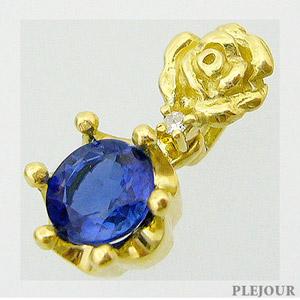 【10%OFF】カイヤナイト ペンダント K18 薔薇 王冠 ダイヤモンド付 ネックレス バラとクラウンのコンビ ペンダント/ プラチナ変更可能