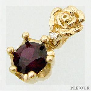 【10%OFF】パイロープガーネット ペンダント K18 薔薇 王冠 ダイヤモンド付 ネックレス バラとクラウンのコンビ ペンダント/ プラチナ変更可能