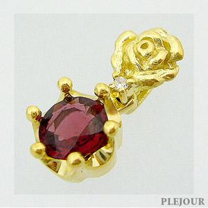 レッドスピネル ペンダント K18 薔薇 王冠 ダイヤモンド付 ネックレス バラとクラウンのコンビ ペンダント/ プラチナ変更可能