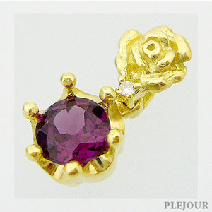 【10%OFF】ロードライトガーネット ペンダント K18 薔薇 王冠 ダイヤモンド付 ネックレス バラとクラウンのコンビ ペンダント/ プラチナ変更可能