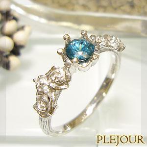 ブルージルコン リング K18 薔薇 王冠 ダイヤモンド付 バラと王冠のコンビ 指輪/ プラチナ変更可能