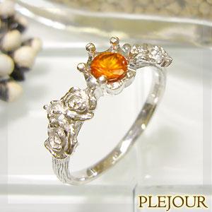 【10%OFF】マンダリンガーネット リング K18 薔薇 王冠 ダイヤモンド付 バラと王冠のコンビ 指輪/ プラチナ変更可能