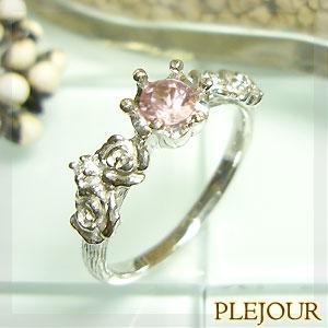 【10%OFF】モルガナイト リング K18 薔薇 王冠 ダイヤモンド付 バラと王冠のコンビ 指輪/ プラチナ変更可能