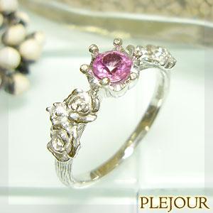 ピンクサファイア リング K18 薔薇 王冠 ダイヤモンド付 バラと王冠のコンビ 指輪/ プラチナ変更可能