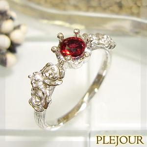 【10%OFF】レディッシュサファイア リング K18 薔薇 王冠 ダイヤモンド付 バラと王冠のコンビ 指輪/ プラチナ変更可能