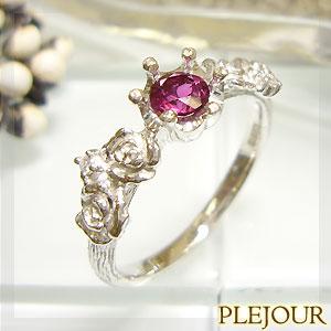 ルベライト リング K18 薔薇 王冠 ダイヤモンド付 バラと王冠のコンビ 指輪/ プラチナ変更可能