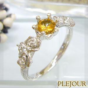 スペサルタイトガーネット リング K18 薔薇 王冠 ダイヤモンド付 バラと王冠のコンビ 指輪/ プラチナ変更可能
