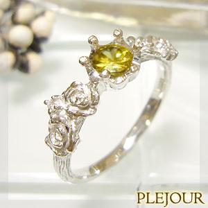 【10%OFF】スフェーン リング K18 薔薇 王冠 ダイヤモンド付 バラと王冠のコンビ 指輪/ プラチナ変更可能
