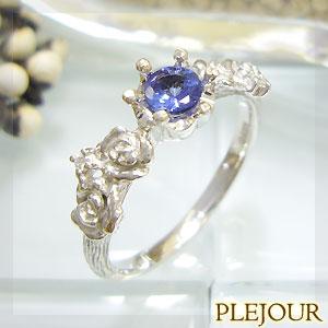 【10%OFF】タンザナイト リング K18 薔薇 王冠 ダイヤモンド付 バラと王冠のコンビ 指輪/ プラチナ変更可能