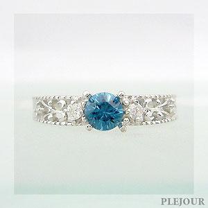 【10%OFF】4日20時~ ブルージルコン リング アンティーク ダイヤモンド付 指輪 K18 大人のアンティーク 指輪/ プラチナ変更可能