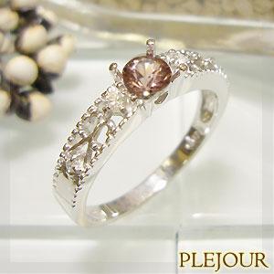 シャンパンガーネット リング K18 アンティーク ダイヤモンド付 指輪 大人のアンティーク 指輪/ プラチナ変更可能