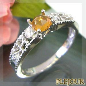 オレンジサファイア リング ローズカット K18 アンティーク ダイヤモンド付 指輪 大人のアンティーク 指輪/ プラチナ変更可能