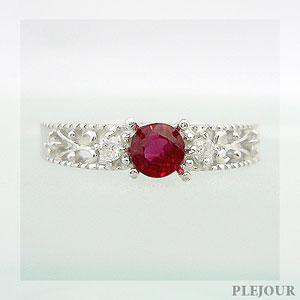 リング 指輪/ レディッシュサファイア 大人のアンティーク K18 プラチナ変更可能 アンティーク 指輪 ダイヤモンド付