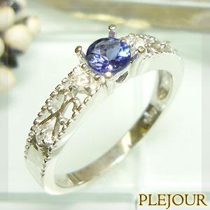 タンザナイト リング K18 アンティーク ダイヤモンド付 指輪 大人のアンティーク 指輪/ プラチナ変更可能
