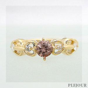 シャンパンガーネット リング アンティーク K18 ダイヤモンド付 ハート リング ハートに包まれたアンティーク 指輪/ プラチナ変更可能