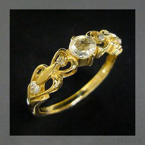 9/11 1:59迄ダイヤモンド リング ローズカット,アンティーク K18 ダイヤモンド付 ハート リング ハートに包まれたアンティーク 指輪/ プラチナ変更可能